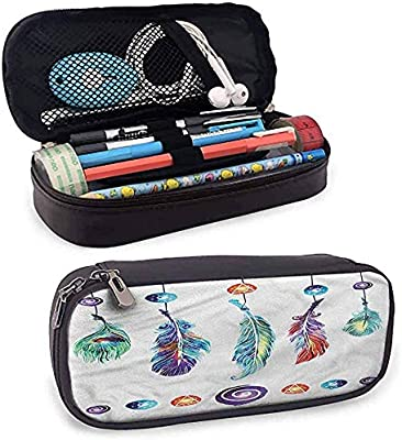 Estuche de lápices Boho Big Estuche de bolígrafo con cremallera Hippie Feather para la escuela Fácil de llevar: Amazon.es: Oficina y papelería