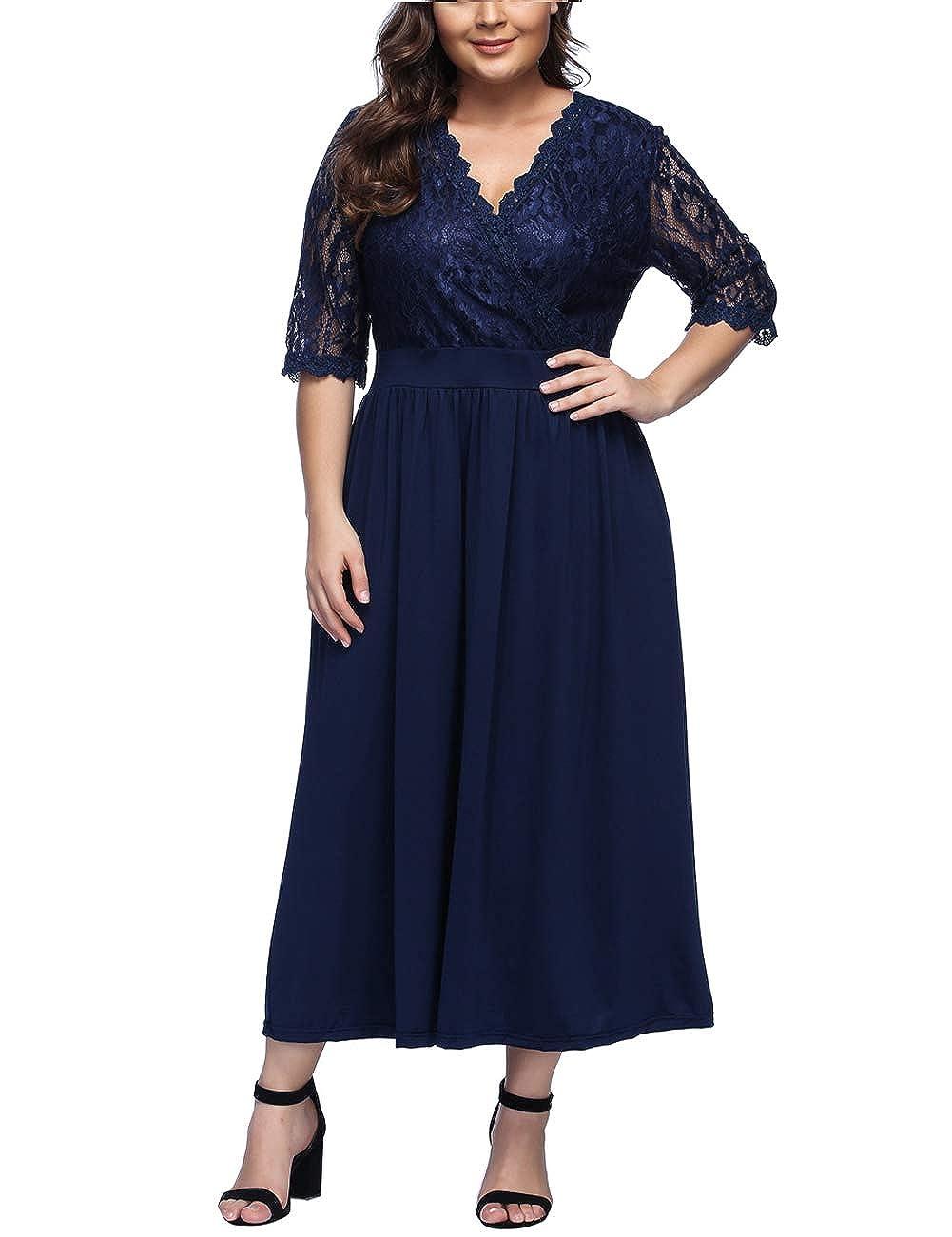 TALLA XL/ES 46-48. FeelinGirl Mujer Vestido de Noche Encaje Largo Traje Talla Extra Grande Cóctel Cintura Alta Encaje-azul XL/ES 46-48