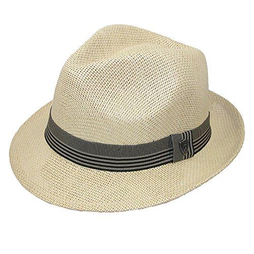 Dorfman Pacific Men's Toyo Straw Fedora With Ribbon Band, Large, (Toyo Straw Fedora Hat)