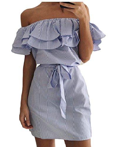 Jaycargogo Occasionnels Été Hors Robes Midi Épaule Des Femmes Rayées Volants Robes Bustier Bleu