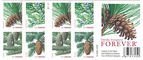 USPS Forever Stamps Holiday Evergreens Booklet of 20 (Postage Christmas 2017 Stamps For)