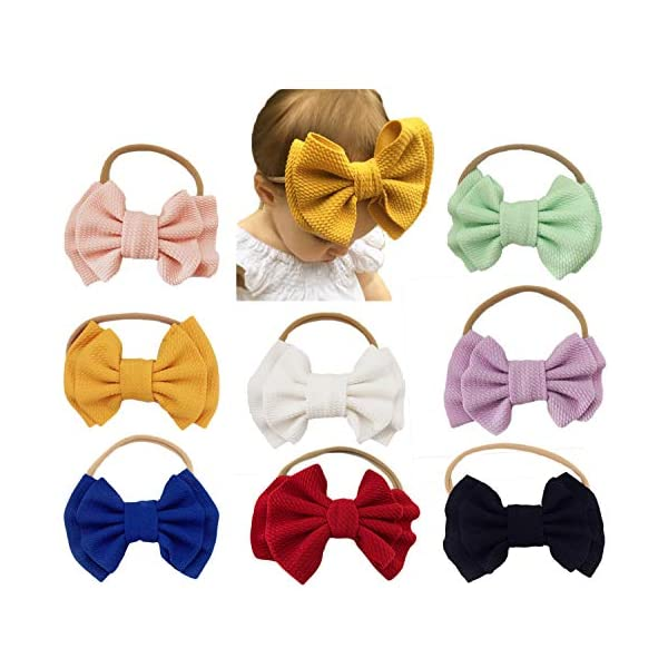 Baby Girl Nylon Headbands Newborn Infant Toddler Bow Hairbands Soft Headwrap Children Hair Accessories (8pcs-oragne/black/green)