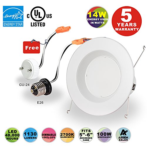 14 Recessed Lighting (LEDJOY 14Watt 6Inch Dimmable Recessed LED Downlight Kit Retrofit LED Recessed Lighting Fixture 2700K Warm White LED Ceiling Light 110V-120V Recessed Downlight With E26 Medium and GU24 Base)