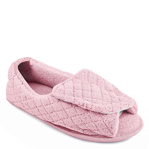 Muk Luks Micro Chenille Adj Slipper Womens Slipper Medium Us Pink Chiaro