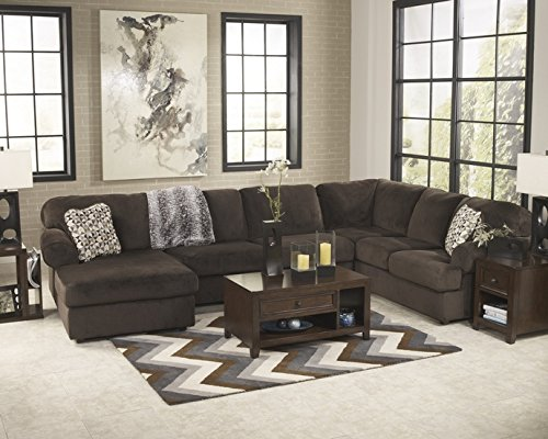 3 pc Jessa Place collection chocolate fabric upholstered sectional sofa with chaise and rounded arms