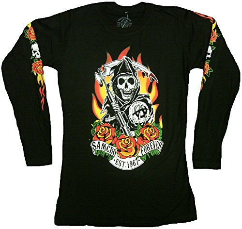 Sons Of Anarchy Fire Roses Reaper Junior Long Sleeve Shirt  X Large  Black