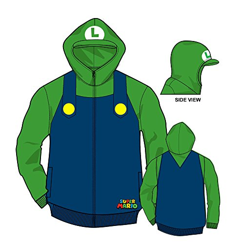 [Nintendo Luigi Bill Men's Green Zip-Up Costume Hoodie-Navy/Kelly-Small] (Nintendo Costumes For Adults)