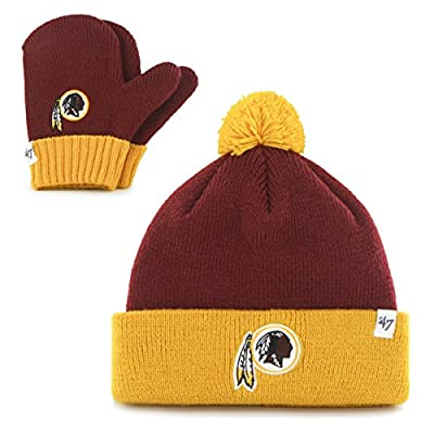 NFL '47 Brand Bam Bam Cuff Knit Pom Hat and Mittens Set