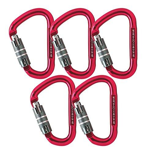 Fusion Climb Eureka Aluminum Triple Lock Pear Shape Carabiner 5-Pack by Fusion Climb