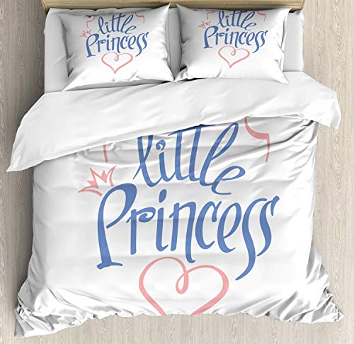 Girl Slogan 3 Pieces Duvet Cover Set Little Princess in Curvy Handwriting Girly Crown Queen Like Heart Bedding Set (1 Duvet Cover+2 Pillow Shams) Full Size, Ceil Blue and Pale Pink
