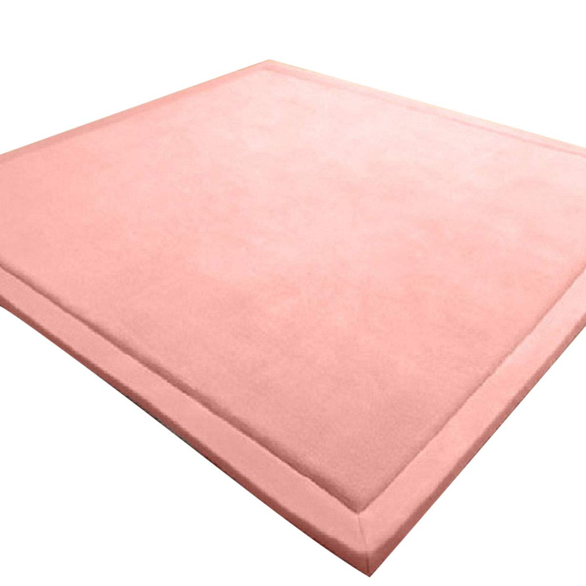 E.life Verdickung Korallen Samt Teppich Kinder Krabbeldecke Weiche Tatami Teppiche Kinder Rutschfeste Vergrößern Spielmatte(Rosa,100  200CM)