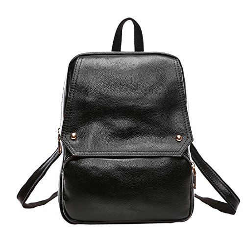 Missmay 2016 Spring Women's Soft Genuine Leather Purse Backpack Travel Casual Sports Black 3019