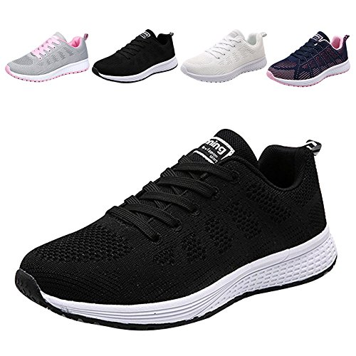 Womens Walking Hiking Sneakers Sports Tennis Shoes Breathable Athletic Running Shoes Lace Up Sneaker Sport Fitness for Women/Girl/Lady (US 7 / CN 37, Black)