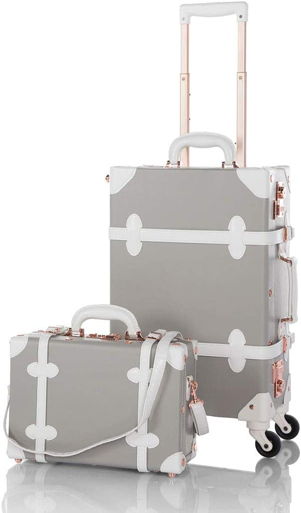 COTRUNKAGE Pu Spinner Suitcase Grey 2 Piece Vintage Trunk Luggage Set