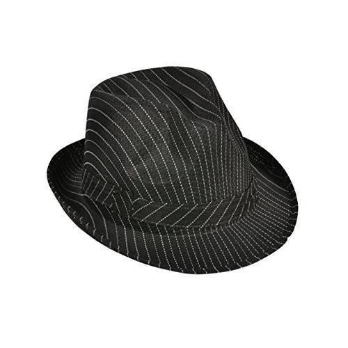 Roaring 20s Gangster Costume Black Pin Stripe Fedora Hat -