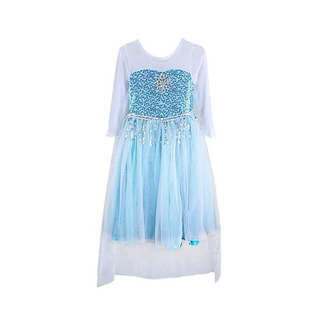 Amazon.com: Vestido disfraz de fiesta para nena de Elsa FE10 ...