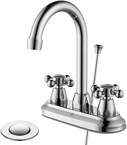 HOMELODY Bathroom Faucet 2 Handles Bathroom Sink Faucet Chrome 4 Inch Centerset Bathroom Faucet 3 Holes, 360 Swivel Lavatory Faucet with Lift Rod Drain Assembly