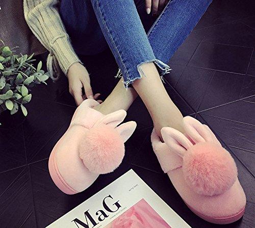 della ragazze scivolano delle calde uomini coniglio Rojeam della donne novità signore Pantofole del sulle peluche degli delle Rosa pantofole delle wO0qIO