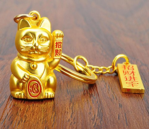 MOEUP Lovely Solide Alloy 3D Lucky Cat Keychain Key Ring (Gold)