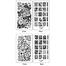 Ejiubas Double-Side Nail Art Image Manicure Stamping Plates ** Wonders of Life ** Nail Art Stamp Collection 2 Count