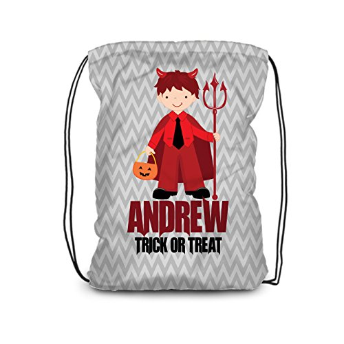 Halloween Drawstring Backpack - Trick or Treat Bag, Devil Costume Personalized Name Bag -