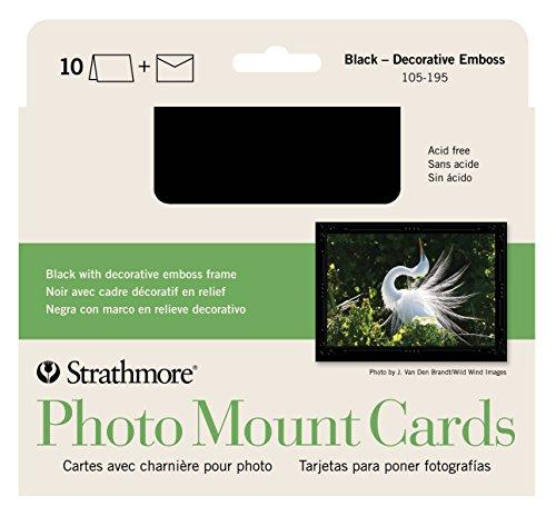 Strathmore 105-195 Photo Mount Cards, Black, Decorative Embossed Border, 10 Cards & Envelopes -