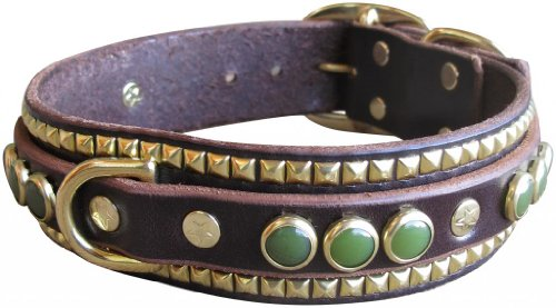 """Paco Collars - """"Jade Ruadh Deluxe"""" - Exclusive Handmade Leather Large Dog Collar - 1.5""""Wide - Silver - Black 16""""-18"""""""