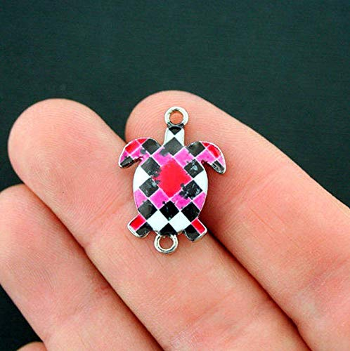(6 Turtle Connector Charms Silver Tone Enamel Pink and Red Geometric Vintage Crafting Pendant Jewelry Making Supplies - DIY for Necklace Bracelet Accessories by CharmingSS)