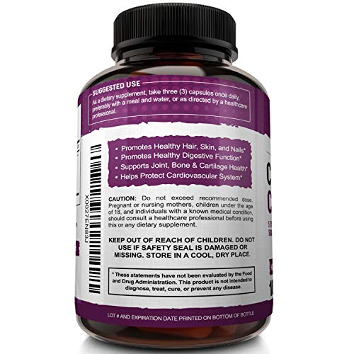 514o9boFnjL - Multi Collagen Pills 2250mg - 180 Capsules, Type I, II, III, V, X - Grass Fed Bone Broth Collagen Peptides for Anti-Aging, Joints, Hair, Skin, Nails - Hydrolyzed Protein Supplement for Women and Men