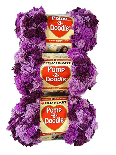 Bulk Buy: Red Heart Pomp A Doodle Yarn Plush Plum E765-9930 (3-Pack) by  (Image #2)