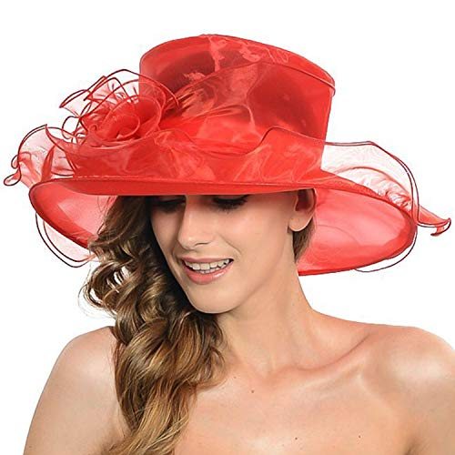 Women Foldable Organza Hat Flower Fascinator Cap Beach UV Sun Hat Tea Party Cocktail Race Club Headdress Summer Hat