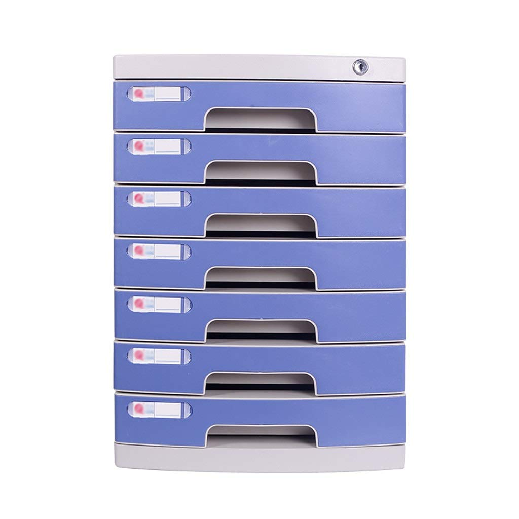 Desktop File Cabinets, with Lock Small Drawer Data Storage Box A4 Paper Office Plastic (Size:11.8in15.8in17.2in) (Color : A1, Size : 7-Layers) by Bxwjg