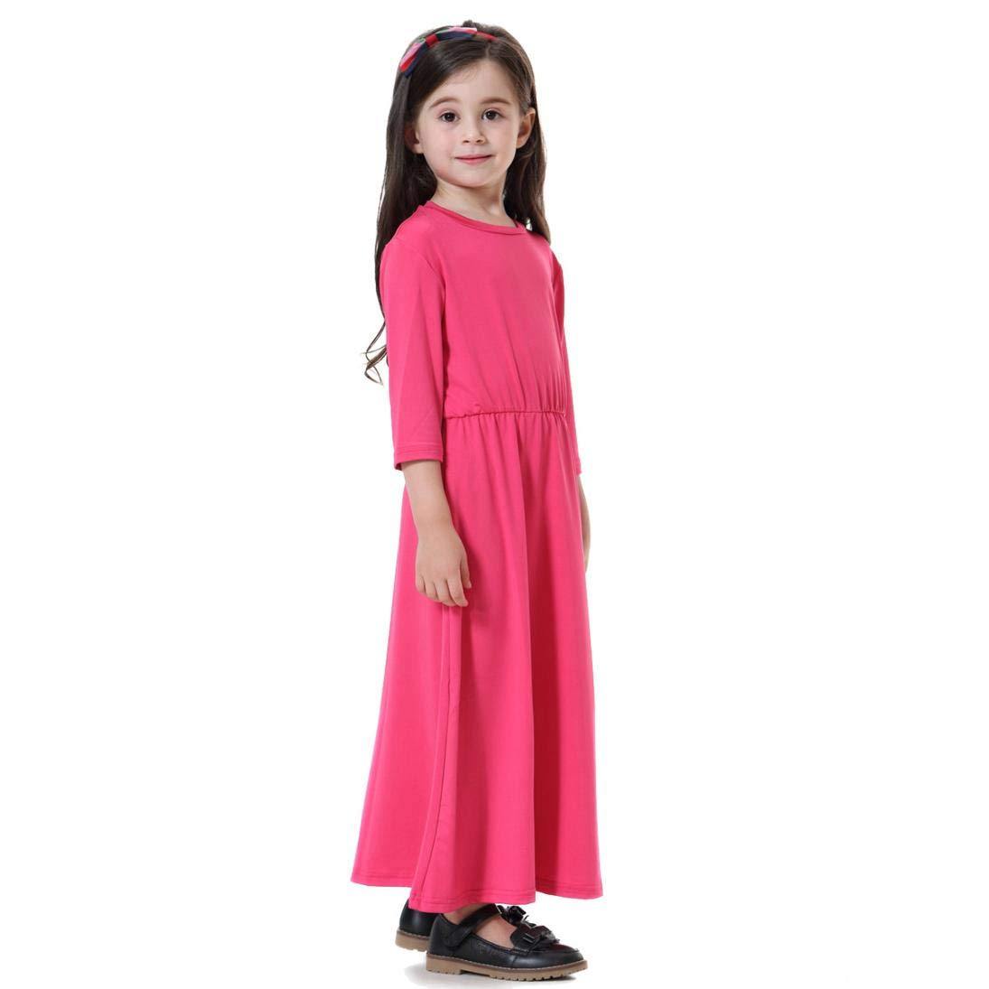 Suma-ma (24M-9T Toddler Kids Children Girl Solid Color Long Sleeve Dress Casual Long Dess(Navy, Blue, Hot Pink,Pink)