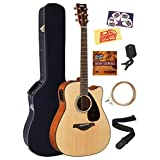 Yamaha FGX800C Solid Top Folk Acoustic-Electric Guitar - Natural Bundle with Hard Case, Tuner, Strings, Strap, Picks, Instructional DVD, Polishing Cloth