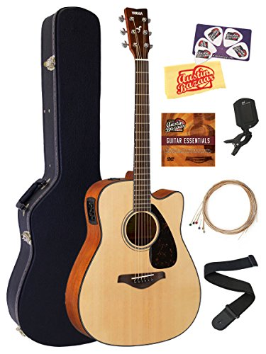 Yamaha FGX800C Solid Top Folk Acoustic-Electric Guitar - Natural Bundle with Hard Case, Tuner, Strings, Strap, Picks, Austin Bazaar Instructional DVD, and Polishing Cloth (Best Mid Range Acoustic Guitar)