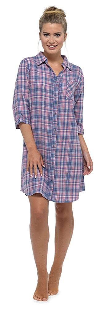 a1d33b678b Foxbury Ladies Brushed Cotton Button Front Check Nightshirt  Amazon.co.uk   Clothing