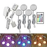 maylit(TM) LED Under Cabinet Lighting, Puck Lights and 24Key Remote 12V Adapter Controller 5050 RGB Multi Color 4pcs Indoor