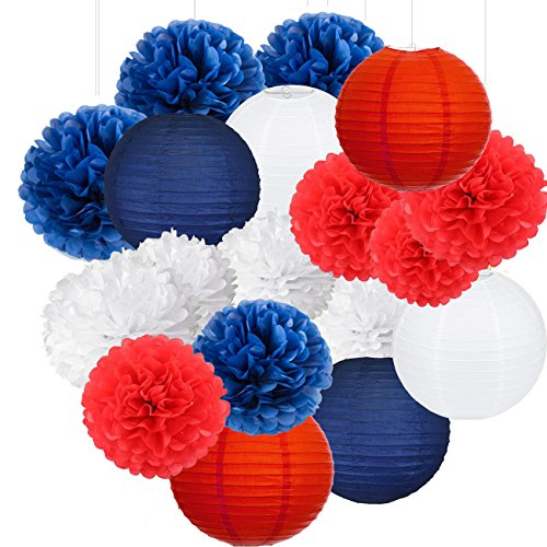 (Nautical Party Decor Pom Poms Tissue Paper Lanterns Navy Blue Mixed Red White Patriotic Decorations Captain America Party Supplies for Baby Shower Boy Scout Banquet Birthday Party Decorations)