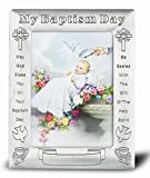 Baptism Antique Pewter Photo Frame 5.5'' x 7'' Overall Size (Boxed)