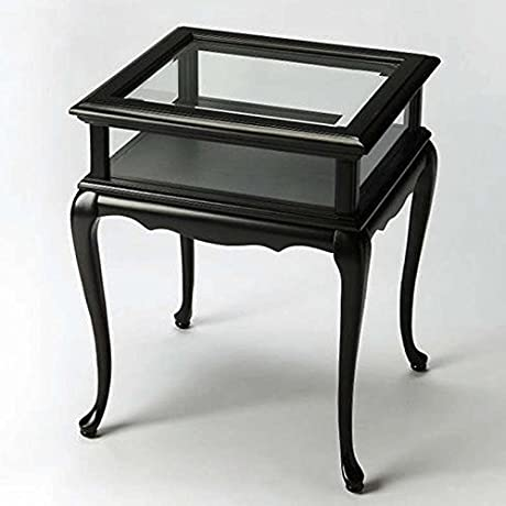 Tables Chelmsford Curio Table Black Glass Top Display Table