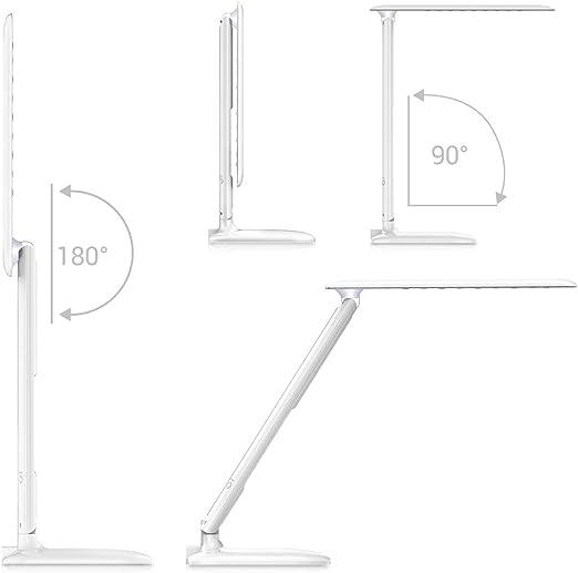 Tischlampe LED Dimmbar Nachttischlampe f/ür Schlafzimmer B/üro Metall Tischlampensockel Modern Weiss Schreibtischlampe Innen mit USB Anschluss 10W
