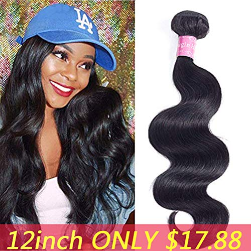 (Sherry Hair 10A Brazilian Body Wave Virgin Hair bundles with closure (12, Body Wave)