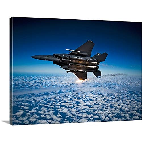 GREATBIGCANVAS Gallery-Wrapped Canvas Entitled A F 15E Strike Eagle Aircraft Releases Flares by Stocktrek Images 48