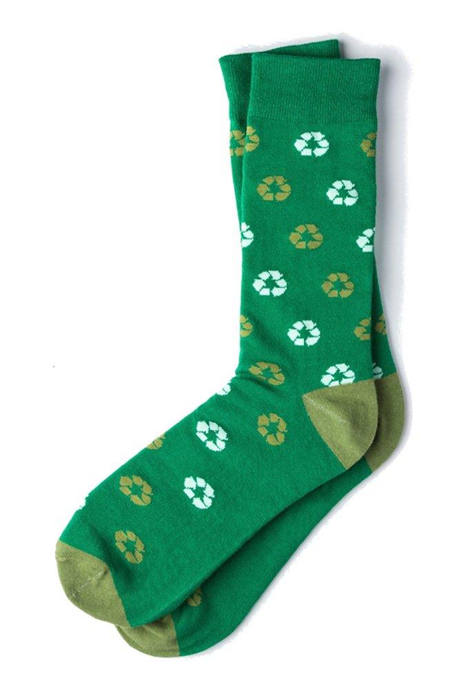 Men's Green Recycle Symbol Environment Novelty Crew Dress Socks