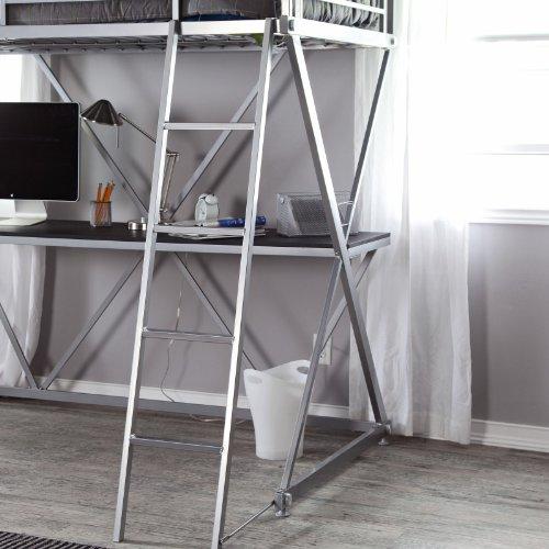 Duro Duro Z Bunk Bed Loft With Desk Silver Metal Twin Loft