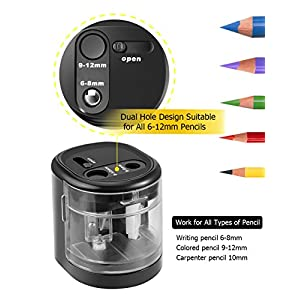 Electric Pencil Sharpener for Kids,USB or Battery Operated for 6-12mm NO. 2 and Colored Pencils, Drawing Pencils, Portable Dual Hole Pencil Sharpener for School, Office, Classroom-Black