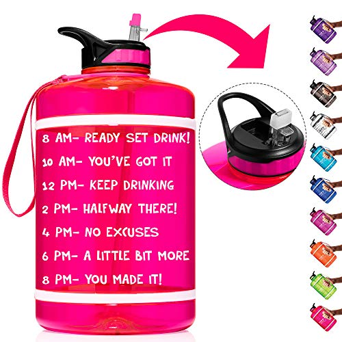 HydroMATE Half Gallon Straw Motivational Water Bottle with Time Marker Large BPA Free Jug Handle Time Marked Drink Marking Measures Track Daily Water Intake 64oz Hydro MATE (Half-Gallon, Neon Pink)