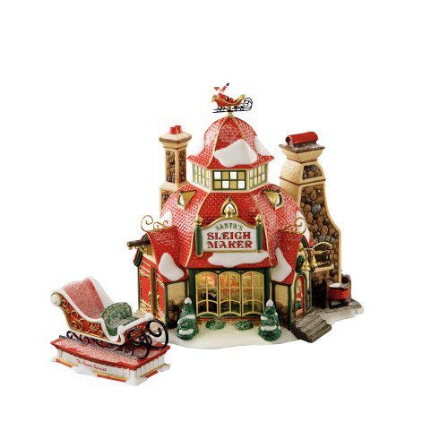 Santas Sleigh Maker (Department 56 North Pole Santa Sleigh Maker Buildings (Set of 2))