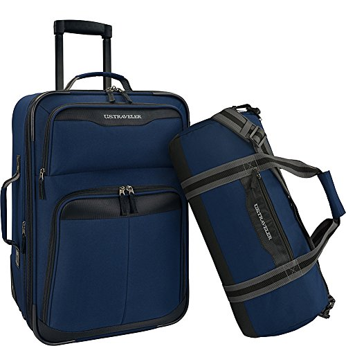 us-traveler-2-piece-carry-on-rolling-upright-duffel-bag-luggage-set-navy