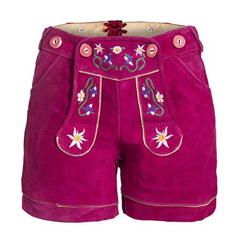 Damen Trachten Lederhose m. Trägern Pink Größe 36
